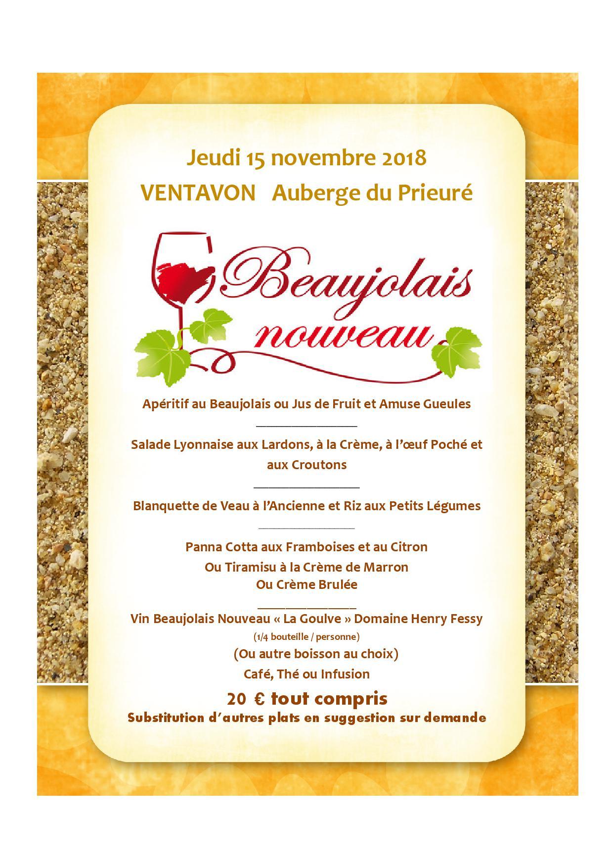Menu Beaujolais Nouveau 2018