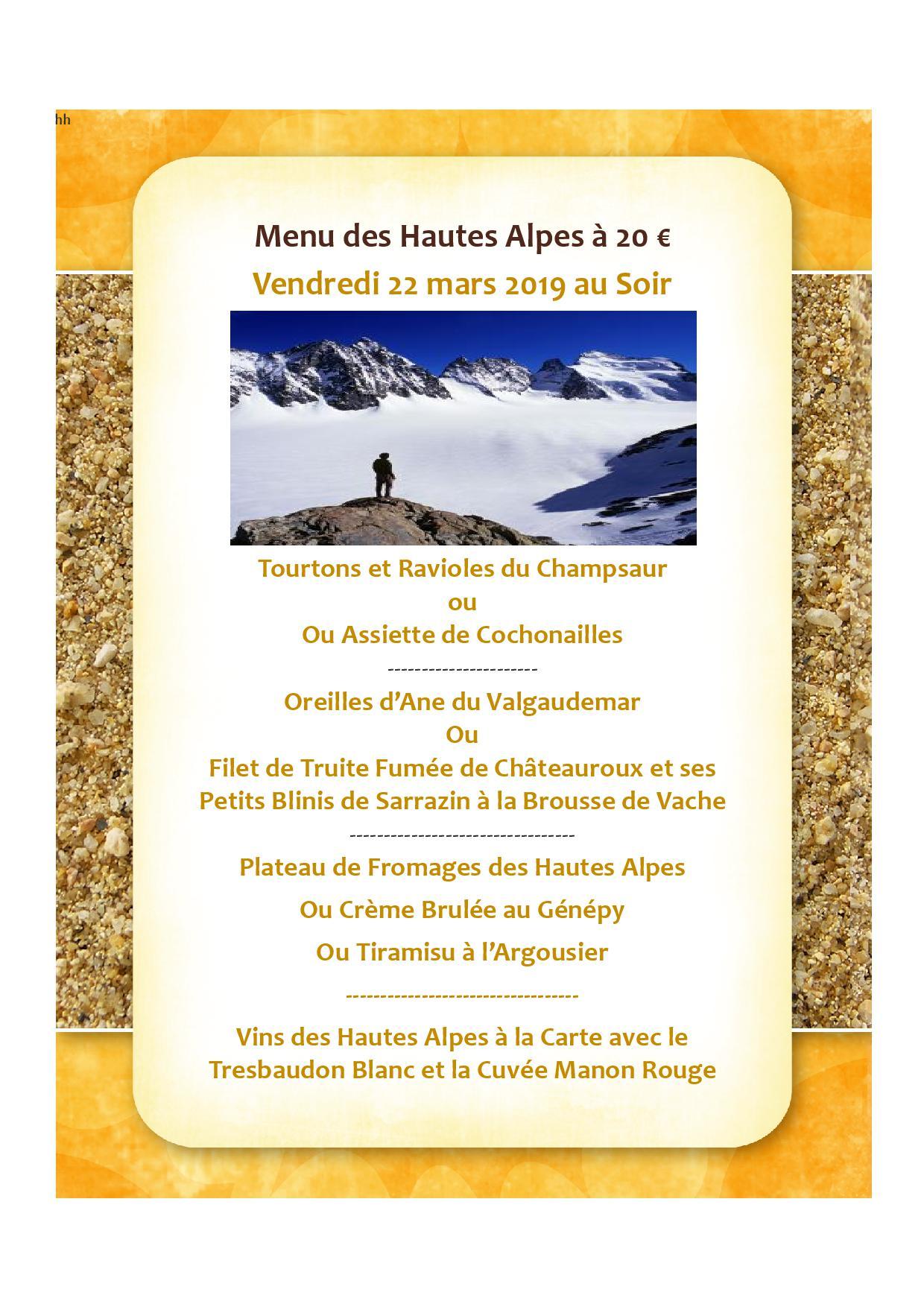 Menu Hautes Alpes 22.03.19